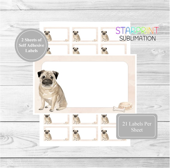 Pug Dog 42 Self Adhesive Stickers Blank For Address Labels//Gift Tags//Party Bags
