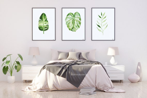 Set Of 3 Plants Watercolor Painting Tropical Leaf Print Etsy