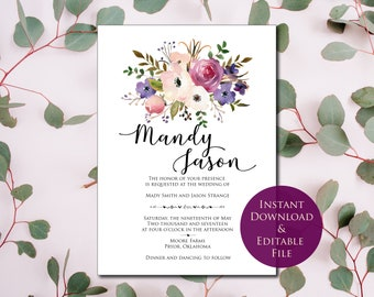 Wedding Invitation Template, Invitation Suite Template, Purple Wedding Invitation, Editable Wedding Invite, Instant Download, Printable