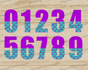 Birthday Numbers 0-9 Svg Fish Scale Numbers Svg Mermaid Numbers Svg Birthday Mermaid Numbers Svg Files For Cricut Cameo Curio Scan N Cut