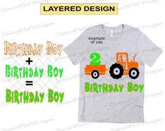 2nd Birthday Svg Boy Farm Tractor Iron On Cut Files For Cricut Scan N Cameo Dxf