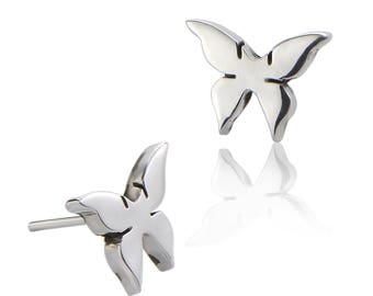 93e0731ba Butterfly Stud Earrings - Sterling Silver Earrings - Contemporary Earrings  - Women's Earrings - Children's Earrings - Stud Earrings