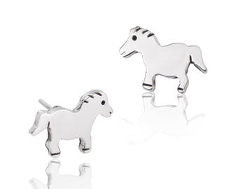 47d41357e Horse Stud Earrings - Sterling Silver Earrings - Contemporary Earrings -  Women's Earrings - Children's Earrings - Stud Earrings