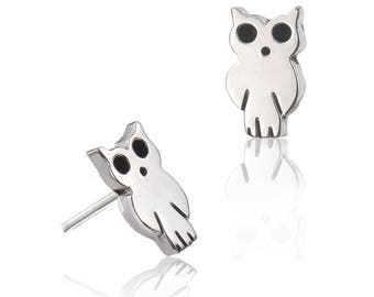 0aceb5927 Owl Stud Earrings - Sterling Silver Earrings - Contemporary Earrings -  Women's Earrings - Children's Earrings - Stud Earrings