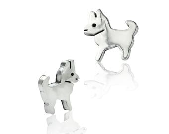 c481268de Doggie Stud Earrings - Sterling Silver Earrings - Contemporary Earrings -  Women's Earrings - Children's Earrings - Stud Earrings