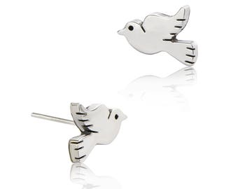 b60c51c67 Dove Stud Earrings - Sterling Silver Earrings - Contemporary Earrings -  Women's Earrings - Children's Earrings - Stud Earrings