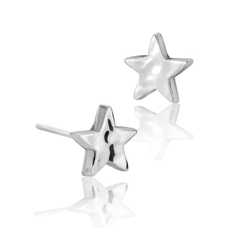 142d26773 Mini Hammered Star Stud Earrings Sterling Silver Earrings | Etsy