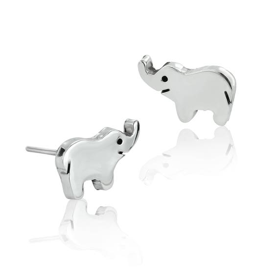 3b76a5fe3 Elephant Stud Earrings Sterling Silver Earrings | Etsy