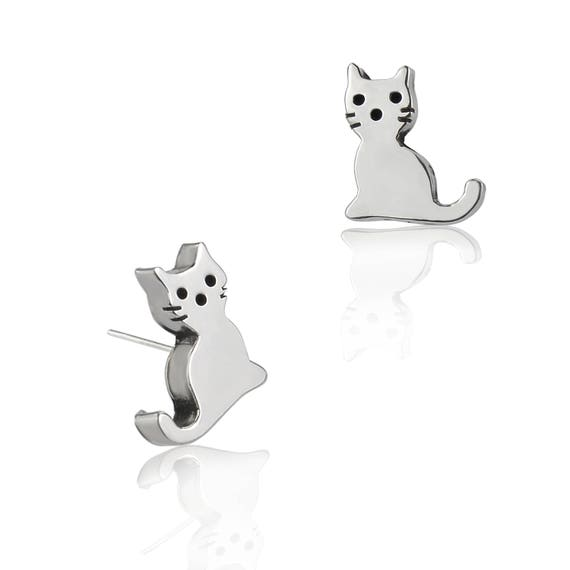 30e35cdbb Kitten Stud Earrings Sterling Silver Earrings Contemporary | Etsy