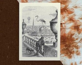 Flamingo - A5 Ivory Linen Card Print