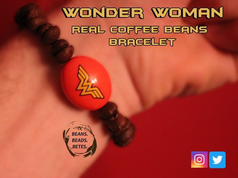 Wonder Woman and Real Coffee Bean Bead Bracelet Coffee Jewelry Coffee Gift Coffee Bracelet DC Comics Wonder Woman Lover Gift