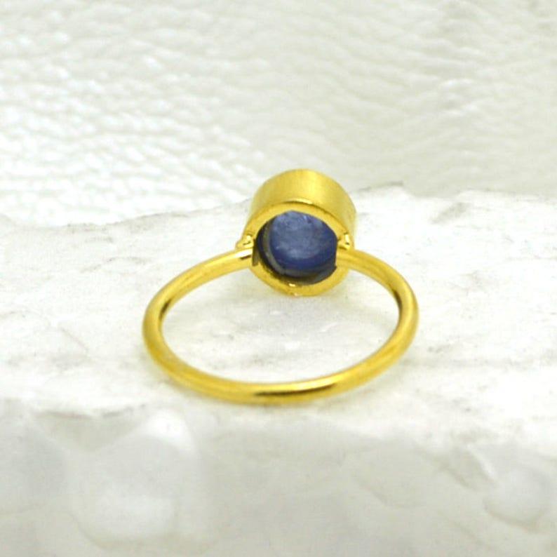 Natural Tanzanite Gemstone Ring Birthstone Gift Tiny Ring Round Tanzanite Ring Yellow Gold on Sterling Silver Ring Christmas Gift Idea