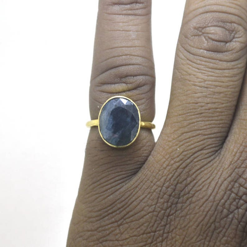Bezel Set Stone Ring Natural Sapphire Ring Yellow Gold on Sterling Silver Ring Faceted Blue Sapphire Gemstone Ring Birthstone Gift Ring
