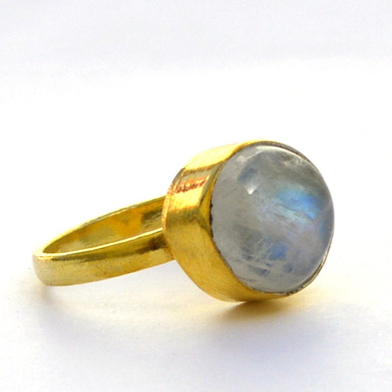 Gift Ring June Birthstone Gift Ring Natural Round Rainbow Moonstone Gemstone Ring Yellow Gold on Sterling Silver Ring Moonstone Ring