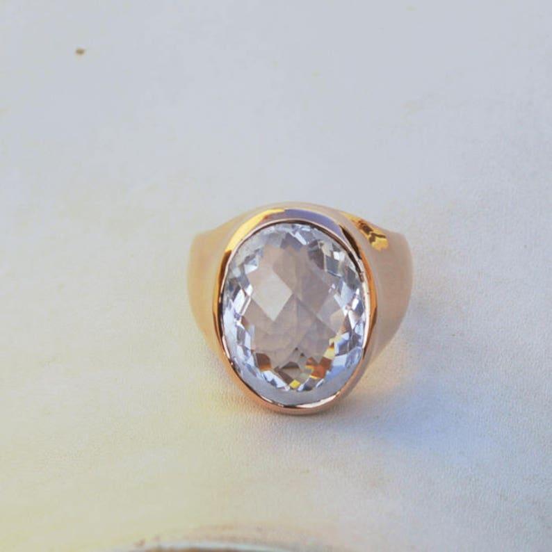 Clear Rock Crystal Gemstone Ring Birthstone Men/'s Gift Ring 18K Rose Gold Over Sterling Silver Ring Large Faceted Crystal Bezel Ring