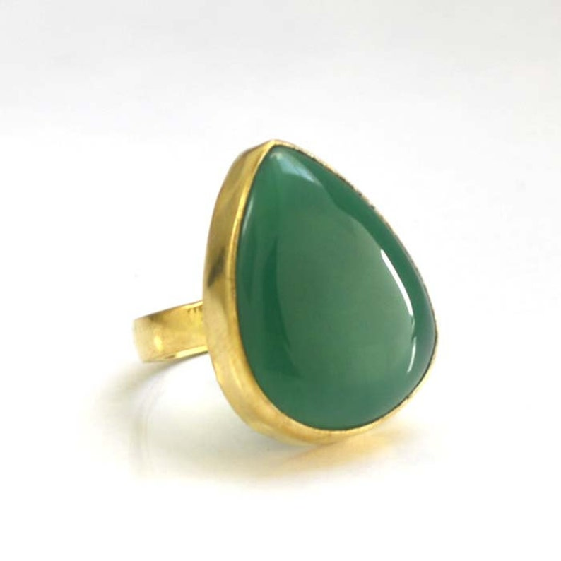 Yellow Gold on Sterling Silver Ring Pear Onyx Ring Natural Green Onyx Gemstone Ring Handmade Classic Ring Onyx Birthstone Gift Ring