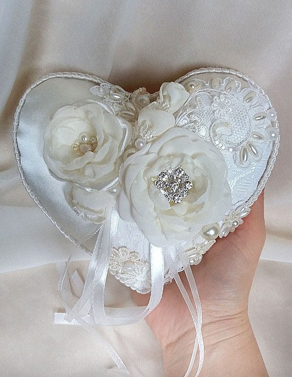 Wedding Ring Pillow With Lace And Flowers Ring Bearer Pillow Etsy