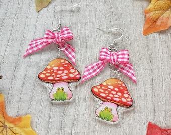 Frog Friends Toadstool Dangle Earrings | Cute Kawaii Pastel Cottage core