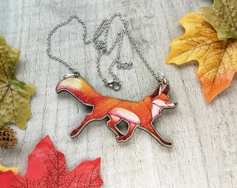 Red Fox Statement Wooden Necklace | Cottagecore Rockabilly Recycled Fun Jewellery