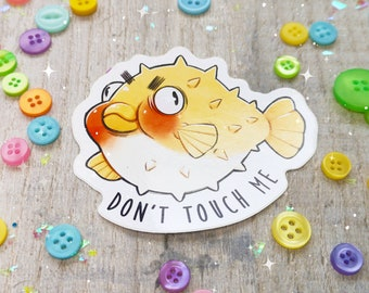 Don't Touch Me Pufferfish Sticker | Cute Sealife Vinyl Sticker