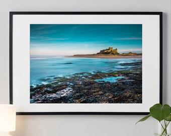 Colour landscape photograph of beach & castle at Bamburgh Castle, Northumberland / fine art / print / wall art /