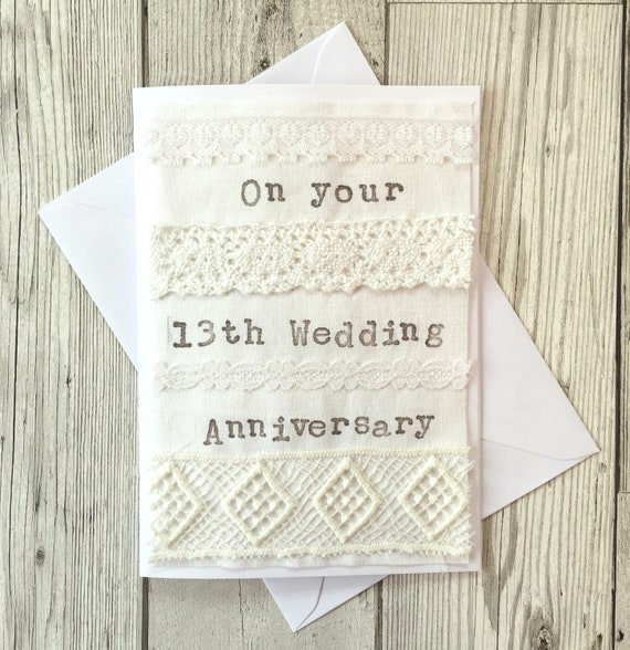 Lace 13th Wedding Anniversary Card Etsy