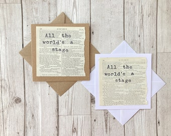All the world's a stage Shakespeare's As you like it Quote Greeting Card
