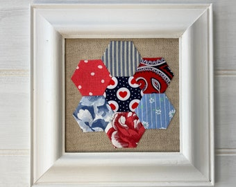 Framed Hexagon Patchwork Picture