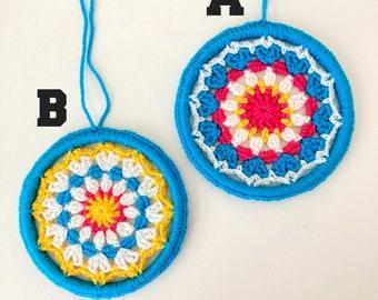 Vibrant Crocheted Mandala Wall Hanging