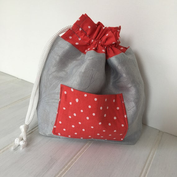 d8a35105487f Grey with Red and White Polka Dot Drawstring Bag