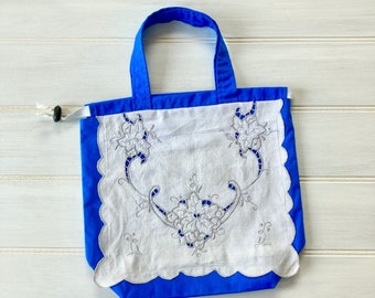 Blue Drawstring Project Bag with vintage linen
