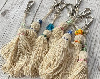 Beaded Tassel Keyring, Bag charm, Scissor Fob, Planner charm
