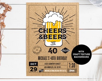 Cheers And Beers To 40 Years Invitation Beer 40th Birthday For Him Rustic Kraft Bday Invite Printable INSTANT DOWNLOAD Pdf