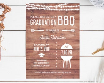 graduation bbq invitation etsy