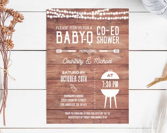 BBQ Baby Shower Invitation, rustic babyq baby shower invite printable, barbecue co ed couples shower, INSTANT DOWNLOAD editable pdf digital