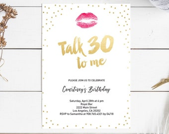 30th Birthday Invitation For Her Talk 30 To Me Invite Printable Thirty Woman INSTANT DOWNLOAD Editable Pdf Digital