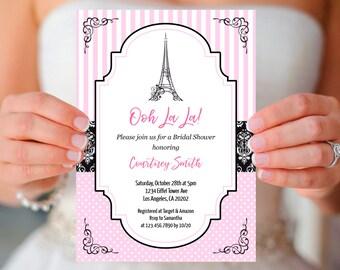Paris Bridal Shower Invitation, paris vintage theme black and pink ooh la la eiffel tower bridal shower invite template, INSTANT DOWNLOAD