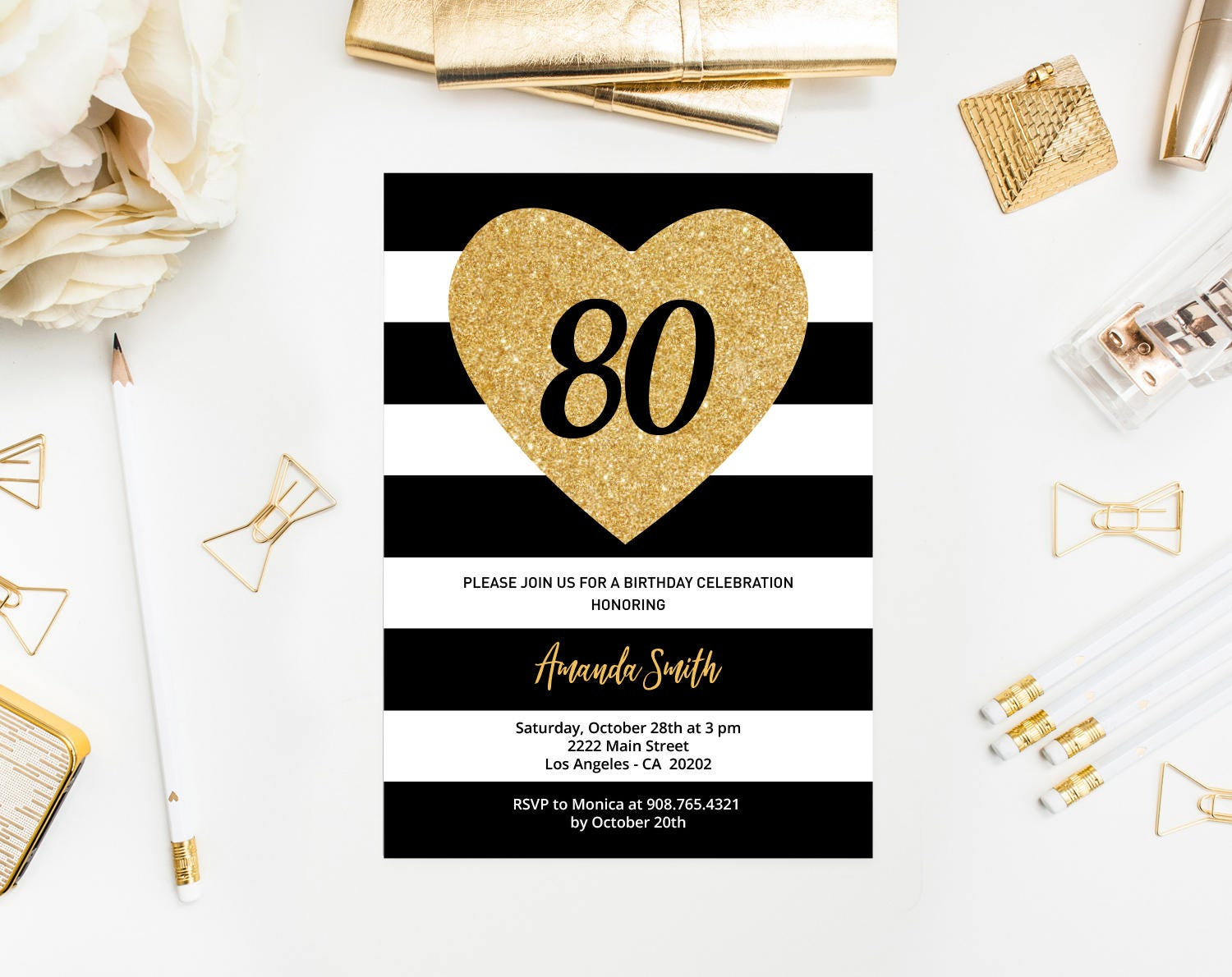 80th Birthday Invitation Template Black And White Stripes Gold Glitter Heart 80 Party Invite Printable INSTANT DOWNLOAD Editable