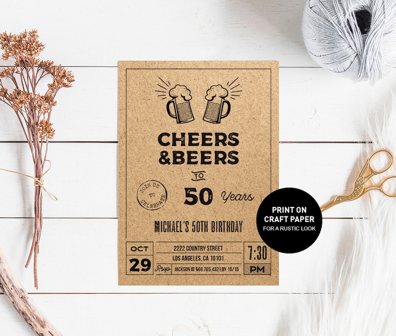 Rustic Beer 50th Birthday Invitation For Him Kraft Cheers And