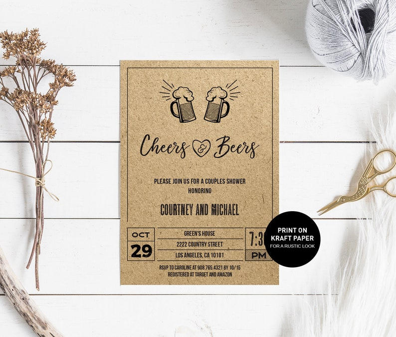 Cheers and Beers Couples Shower Invitation brewery invite INSTANT DOWNLOAD beer Bridal shower Wedding Rehearsal dinner Engagement party
