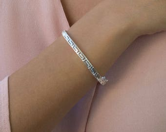Greece Bracelet, Sterling Silver Bracelet, Greece Jewelry, Meander Bracelet, Greek Key Bracelet, Dainty Gold Bracelet, Ancient Greece
