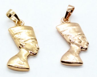 Yellow 24K Gold plated Nefertiti bust charm Egyptian queen Royal Wife Jewelry