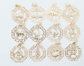 18K Gold Filled Zodiac Charm Pendants Horoscope Charms Horoscope Pendant Size 29x25mm Zodiac Coin Constellation Charm For Jewelry Making