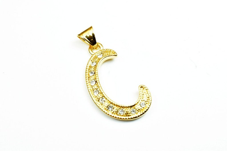 18K Gold Filled Letter C Pendant With Rhinestone CZ Cubic Zirconia Size 34x18mm Initial Charm Valentine/'s Day Gift For Jewelry Making GP17
