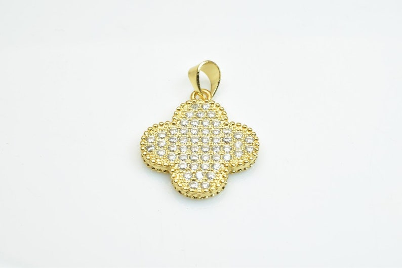 18K Gold Filled Round Rhinestone Pave Charm Pendant Size 20x17.5mm Thickness 2.5mm Cubic Zircon Gold Filled Finding For Jewelry Making GP73