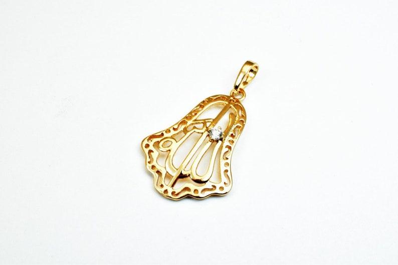 18KT Gold Filled Hamsa Hand Allah \u0627\u0644\u0644\u0647 Pendant With Clear Cubic Zircon Stone Size 27x19mm For Jewelry Making GP79