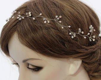 Star Wedding Hair Accessory, Star Bridal Headpiece, Delicate Star Hair Vine, Silver Star Hair Accessory, Gold Star Bridal Hair Piece Wreath