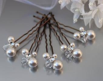 White Pearl Cluster Hair Pins Bobby Clips Grips Wedding Bridal Bridesmaid Ball