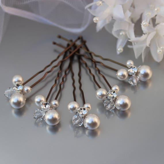 Pearl Hair Pins Ivory White Pearl Wedding Hair Pins Bride Or Bridesmaid Hair Pins Pearl Crystal Cluster Evening Wear Hair Pins