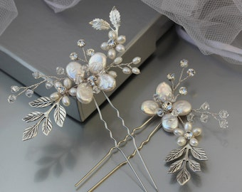 Wedding Hair Pins, Flower Hair Pin, Woodland Flower Hair Pins, Silver Bridal Hair Pins, Floral Wedding Hair Accessory, Wild Rose Hair Pins